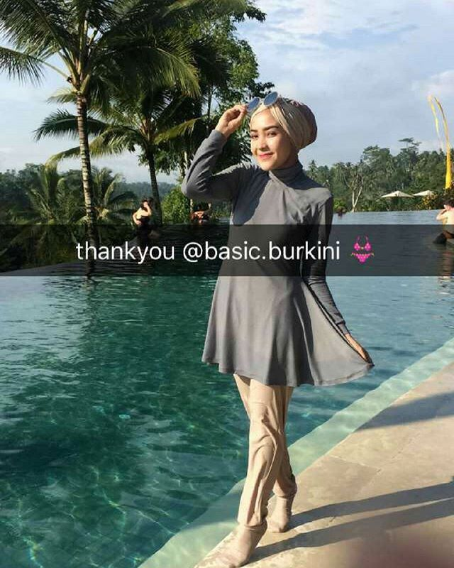 Thank you ka @hamidahrachmayanti for wearing our burkini She's wearing custom burkini full set with turban + swim socks in grey stone mix nude colors