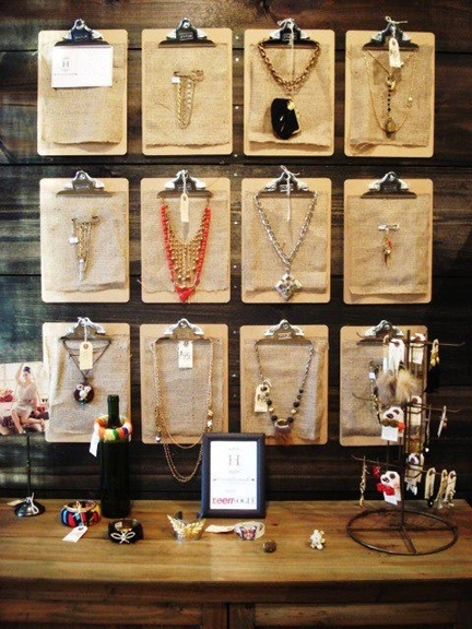 Jewelry on clipboards