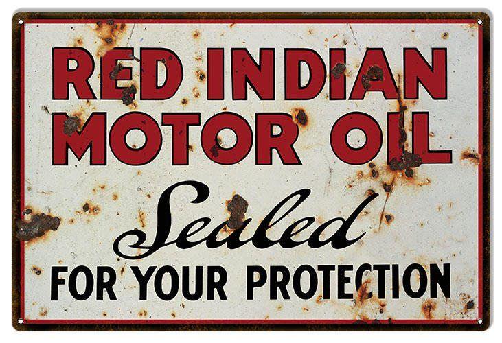 Red Indian Motor Oil Sign, Vintage Aged Style Large 16 x 24 inch .040 Gauge Metal, USA Made Vintage Style Retro Garage Art RG6500L by HomeDecorGarageArt on Etsy