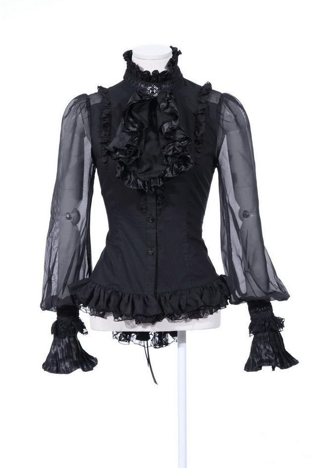 edd5f11215f8c RQ-BL rqbl schwarz black Gothic Bluse mit Kragen goth szene romantic ...