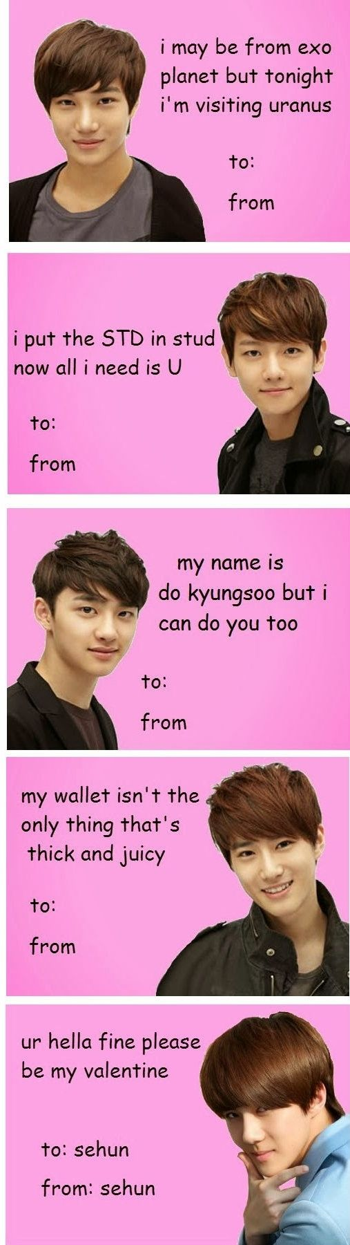 favorite EXO Valentine Cards give one to a kpop friend or send one to yourself like Sehun did lol #Yehet