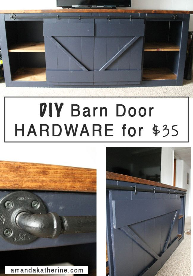 Finally found a way to get the barn door look without spending hundreds of dollars on the hardware! Such a simple solution and all supplies are available at your local hardware store   http://www.amandakatherine.com/diy-barn-door-hardware/