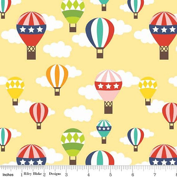 Riley Blake Lazy Day - Hot Air Balloons - Yellow on Etsy, £3.00