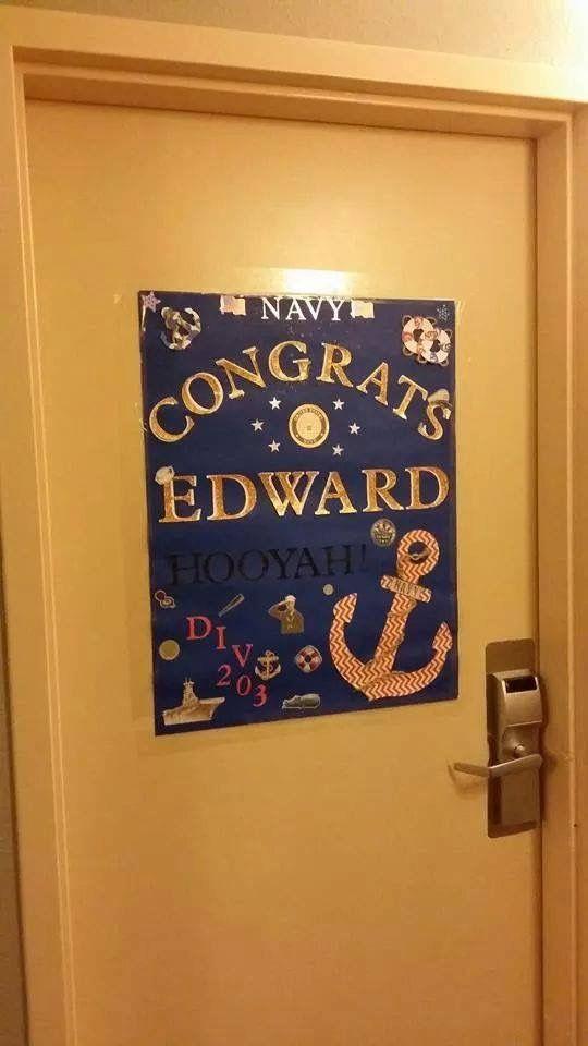 24 best navy graduation images on pinterest marine mom for Hotel door decor