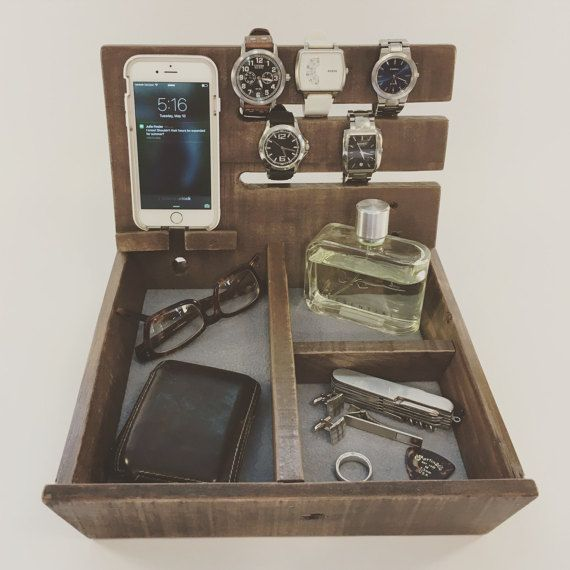 Double Governor   Wooden Valet   Dresser Caddy   Reclaimed Wood Organizer   Watch Valet