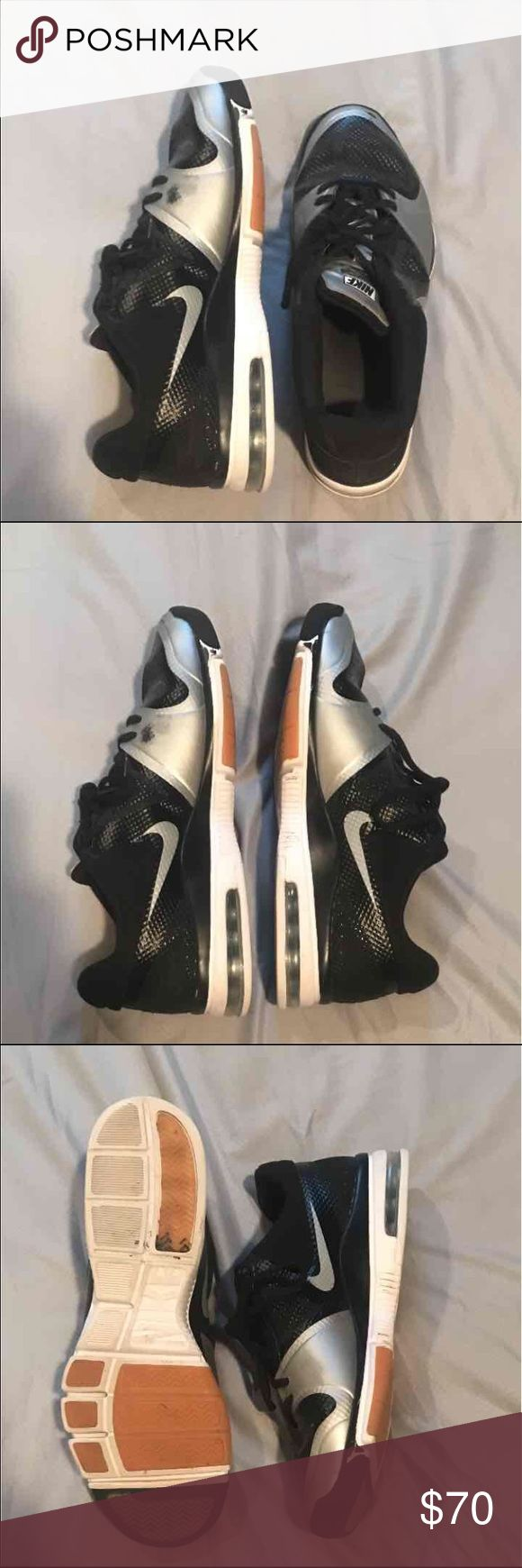 Nike Air Max Size 10 Volleyball shoe Worn a decent amount but overall still in such good shape, haven't been touched in a year and a half. A few marks from sliding and stuff but barely noticeable. Size 10, originally bought for $120. Black and white, will match any jersey. Willing to negotiate price!! Nike Shoes Athletic Shoes