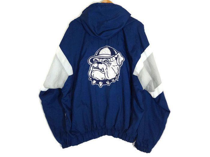 Vintage 90s Georgetown Hoyas Pullover Jacket - XL - Football - Basketball - Bulldog - NCAA - Division 1 - Prime Ticket Jacket - Windbreaker by BLACKMAGIKA on Etsy