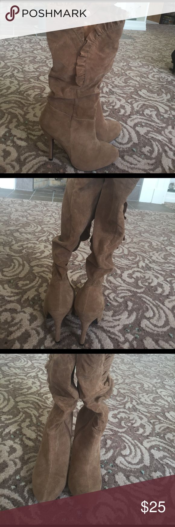 TAN HIGH HEEL BOOTS Tan high heels almost never worn. Great condition Journee Collection Shoes Heeled Boots