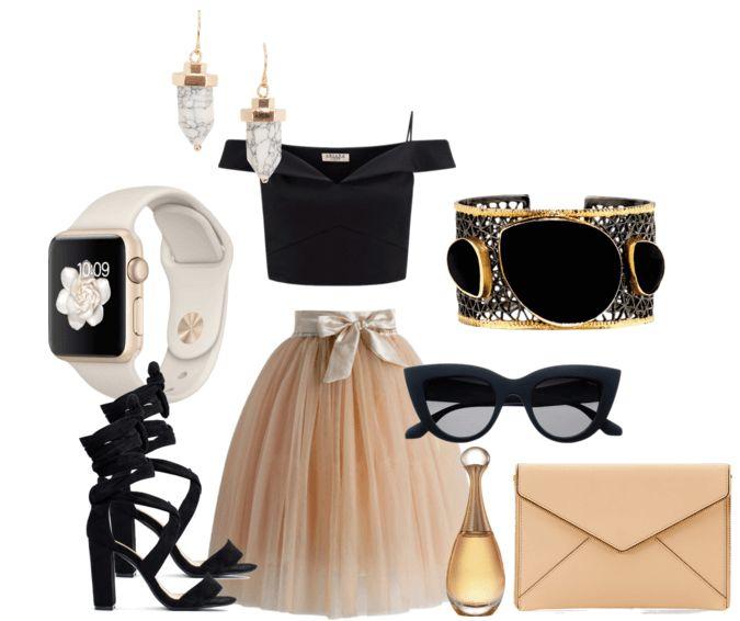 Юбка персикового цвета, чёный кроп-топ, босоножки, клатч, брслет, часы, очки, серьги