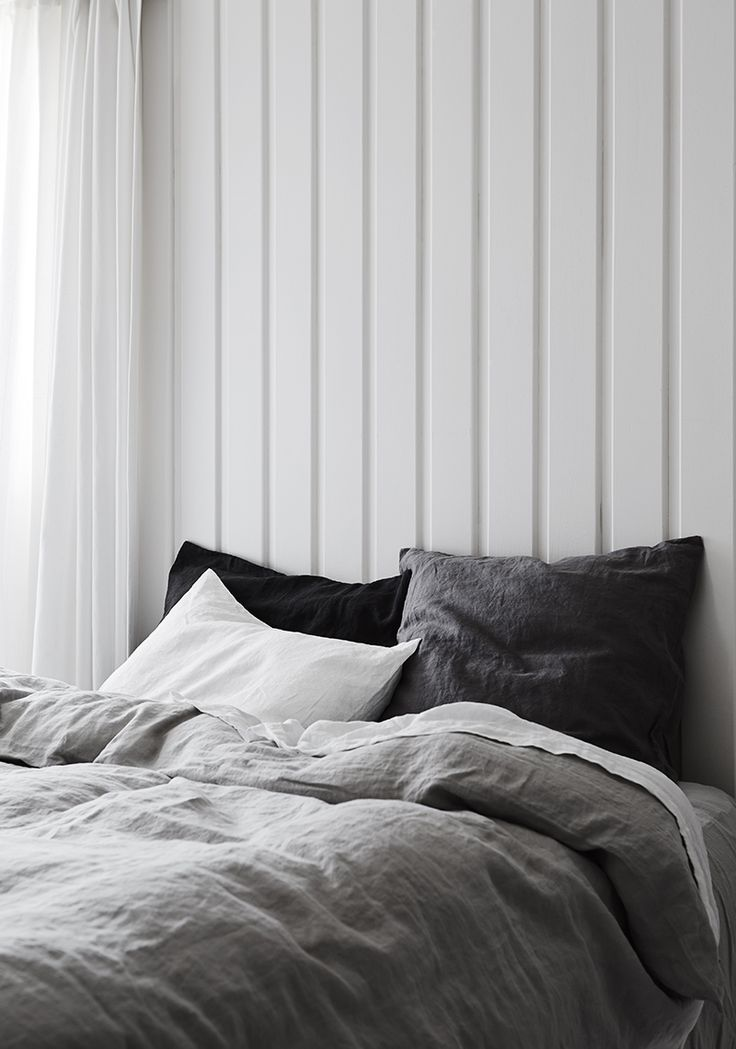 beautiful tones of grey linen bedding - Photography by Annette O'Brien  styling by Alana Langan
