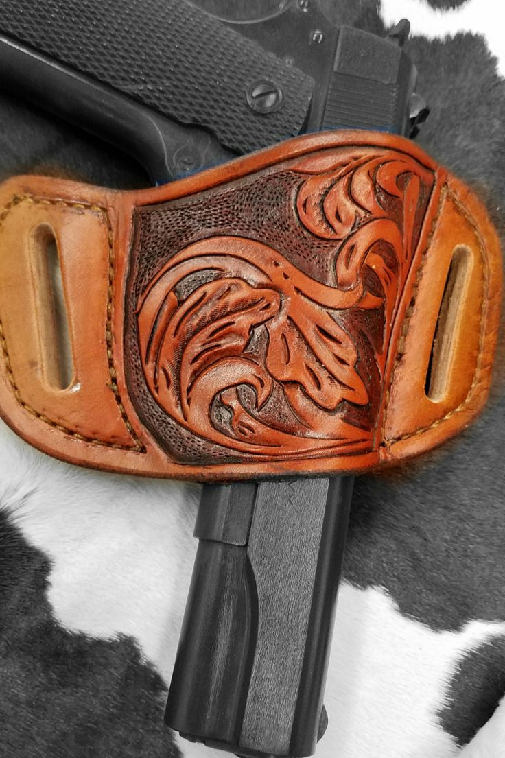 Handmade leather pancake holster for 1911 by TheRecycledCow on Etsy