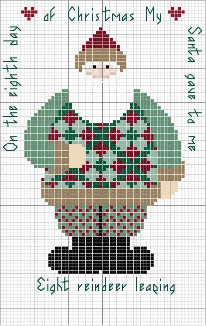 Schema punto croce Santa Day 08