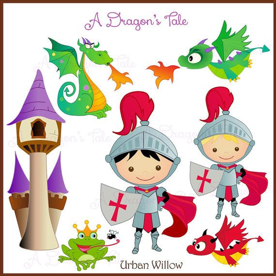 A DRAGON'S TALE Clip art set in premium by LittlePumpkinsPix, $4.50