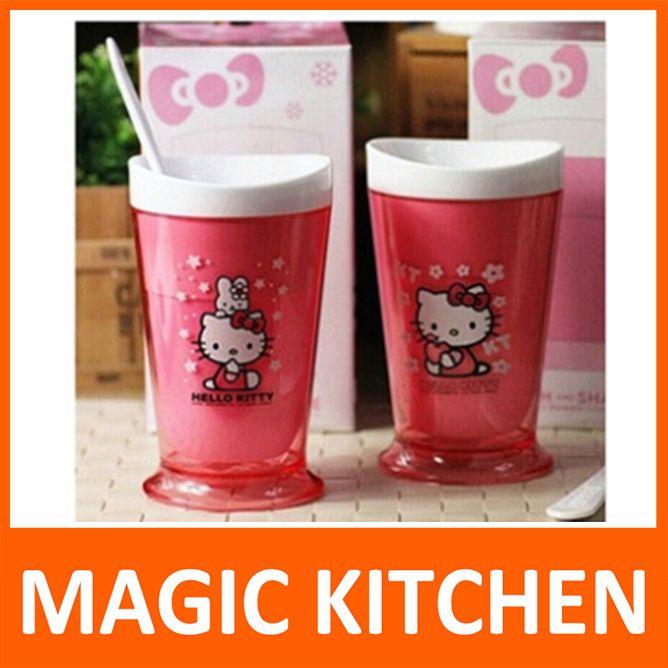 C$ 24.06 Pas cher Magic Kitchen slush et shake maker magie tasse de jus milk   shake tasse de crème glacée machine à smoothie aux fruits tasse avec rose bonjour kitty, Acheter  Machines à glaces de qualité directement des fournisseurs de Chine: