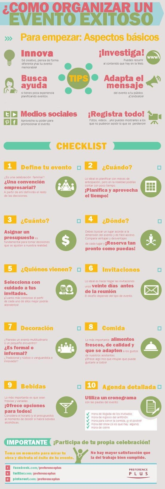 Cómo organizar un evento de éxito #infografia #infographic #marketing