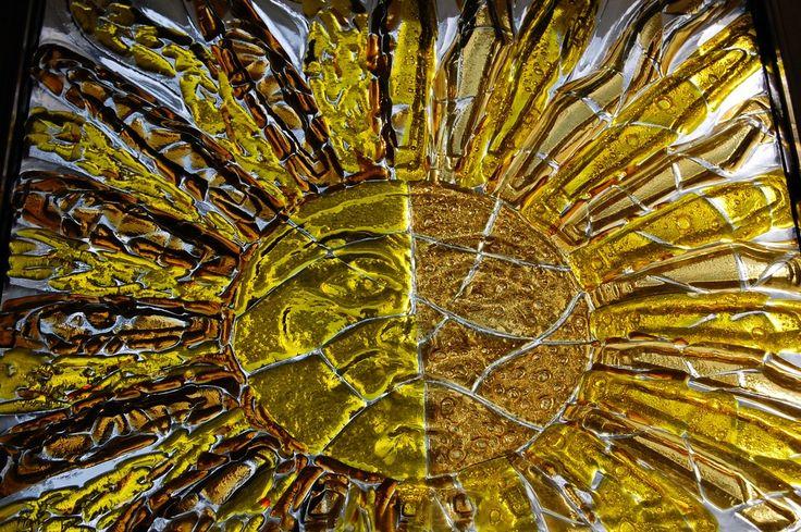 Fusing szkło stapiane z motywem słońca z manufaktury Riwal. Fusing. Fused glass.