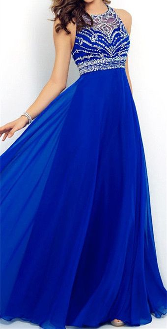 Royal Blue Prom Dresses,Elegant Evening Dresses,Long Formal Gowns,Beaded Party Dresses,Chiffon Pageant Formal Dress,Chiffon Evening Gown