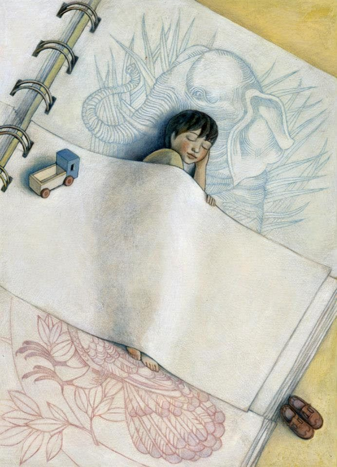 Bom Fim de Semana; Journal page of a sprite or fairy sleeping on the journal page. Anna Forlati