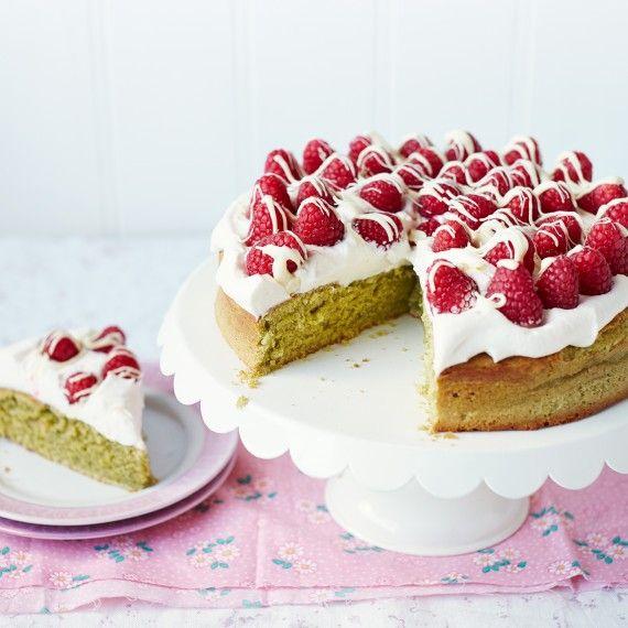 Matcha Cake with Raspberries and White Chocolate - Woman And Home