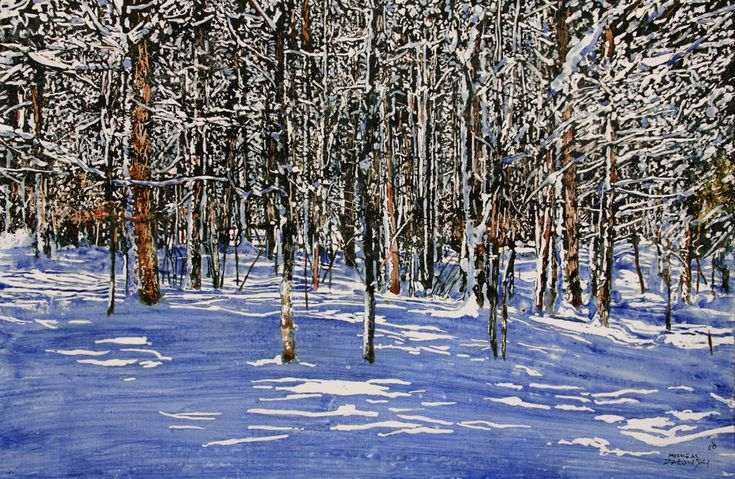 """lite thru the forest / port sydney  26"""" x 38"""" micheal   zarowsky  watercolour / acrylic painted difrectly on gessoed birch panel"""