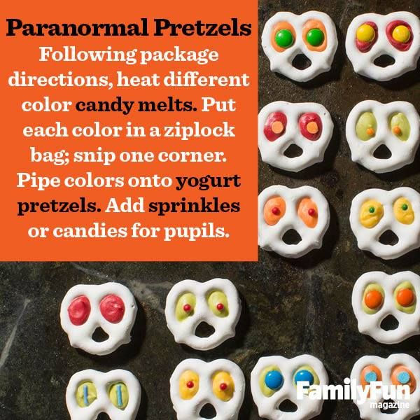 Paranormal Pretzels - yogurt pretzels, heated candy melts in piping bag, and sprinkles or candies for pupils