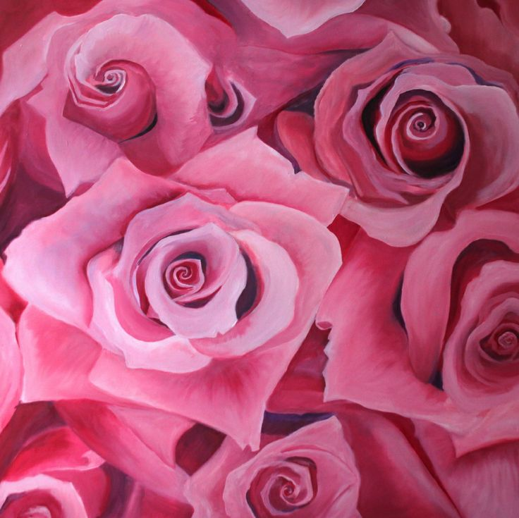 "Olieverf schilderij ""pink Roses"" van Maaike Sommer Afmeting: 100 cm x 100 cm. -verkocht-"