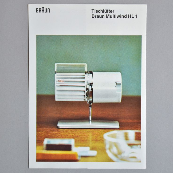 Vintage Braun desk fan brochure.