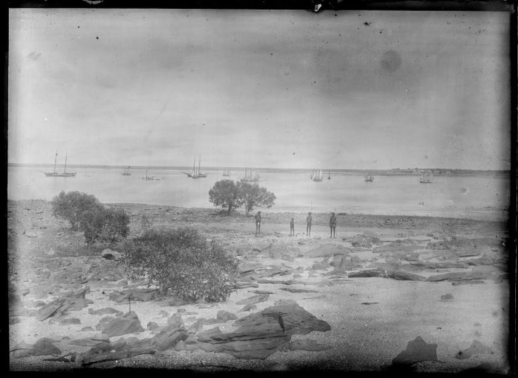 230796PD: Derby coastal scene, with four Aboriginal people, and with sail boats under sail, ca.1898. https://encore.slwa.wa.gov.au/iii/encore/record/C__Rb3769045