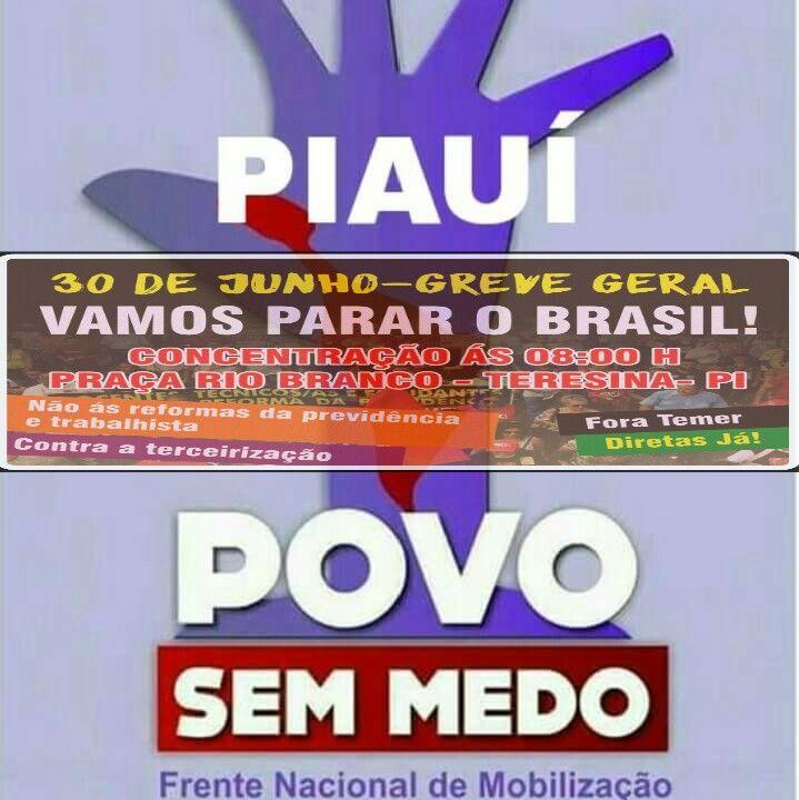 Em Piauí também é Greve Geral em 30/06!