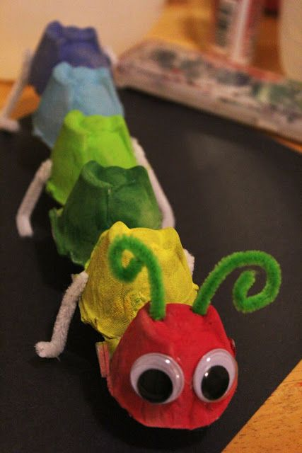 Egg carton caterpillar with googley eyes and pipe-cleaner legs