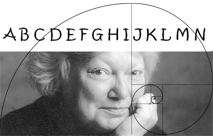 Imagen realizada por la autora de esta entrada a partir de la fotografía de Rigmor Mydtskov, las letras del alfabeto de la A a la N y la espiral de Fibonacci. Inger Christensen (1935-2009) fue una escritora y poeta, considerada como la de mayor