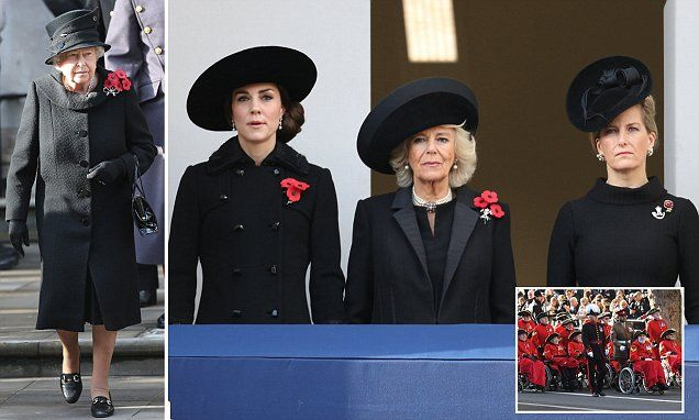 Elizabeth II was joined by Prime Minister Theresa May for the annual Remembrance Sunday service in central London in memory of those killed in past and present conflicts.
