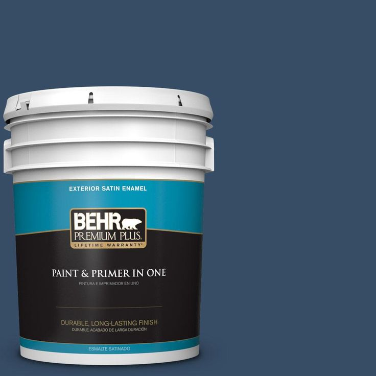 BEHR PREMIUM PLUS 5 gal. #hdc-FL14-12 Rain Boots Satin Enamel Exterior Paint