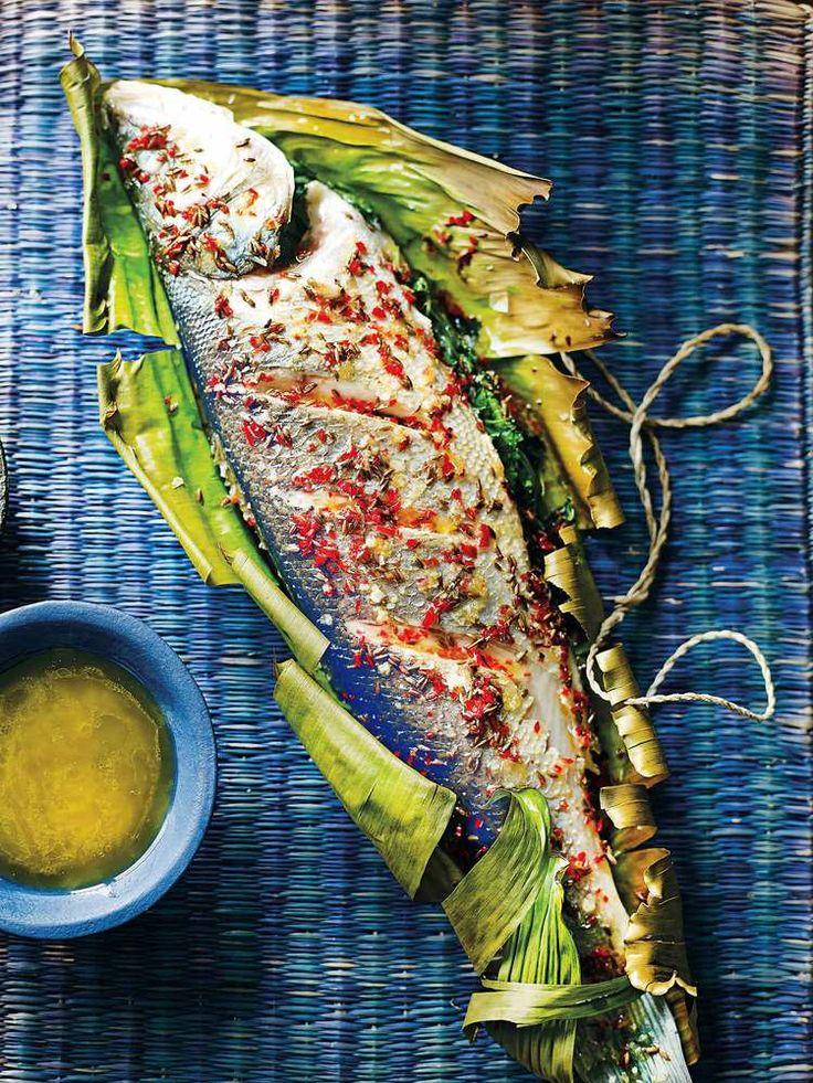 Sea Bass with Coriander and Chilli, a recipe by Shelina Permaloo - Masterchef UK winner.
