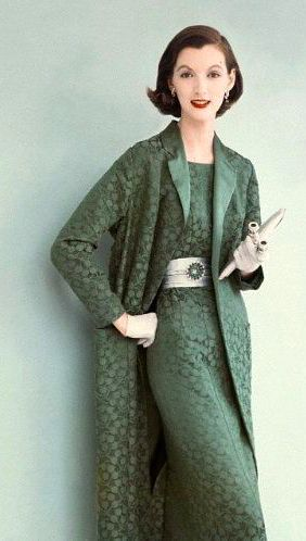 1955 50s fashion style green dress jacket lace sheath color photo print ad model