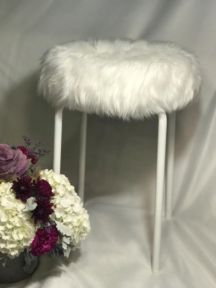 Faux fur vanity stool white fur white stool etsy in 2020