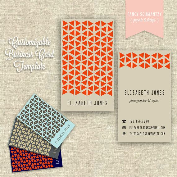 Business Card Template by FancySchmantzy on Etsy, $13.50