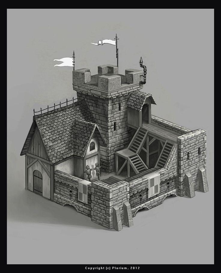 World Building concept. structure. keep. castle. prison. guardhouse. by mikrob.deviantart.com on @deviantART