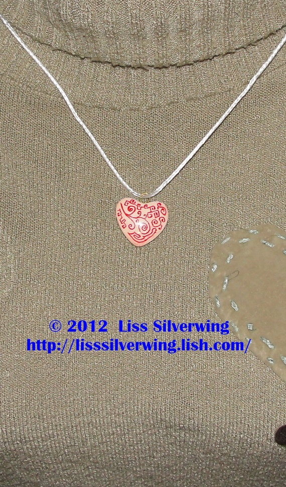 Valentine pink one of a kind  handpainted heart  by LissSilverwing, $15.95