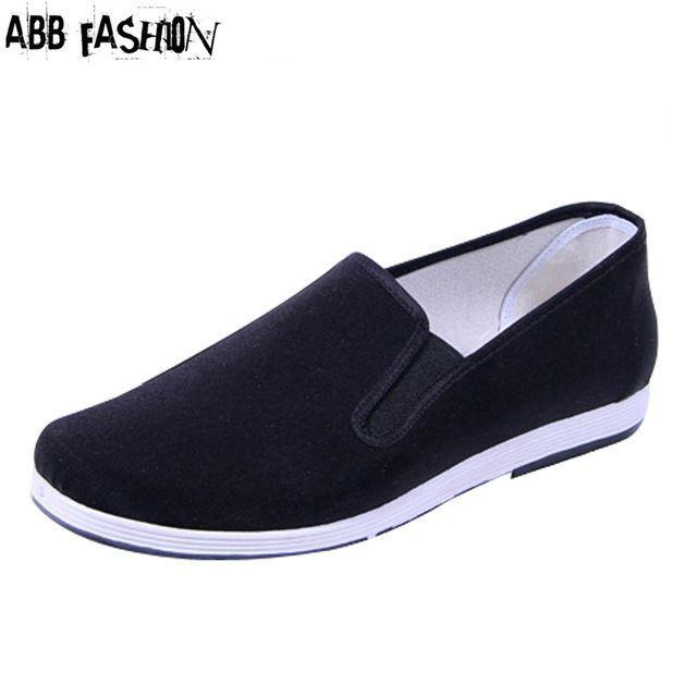 Nouveau 2014 noir tissu chaussures hommes ronde bouche mocassins casual coton tissu chaussures hommes chaussures de kung fu chaussures de mode de femmes appartements