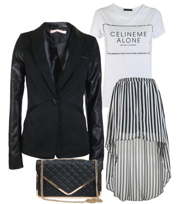 Black and white : maxi dip hem skirt