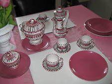 Tunesisches Kaffeeservice Teeservice 6 Teilig rosa weiß