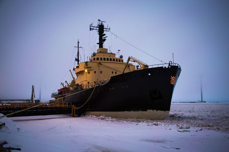 The famous Sampo Icebreaker Ship, docked at frozen Kemi Port Photo by © 2016 Worldly Nomads Travel Blog