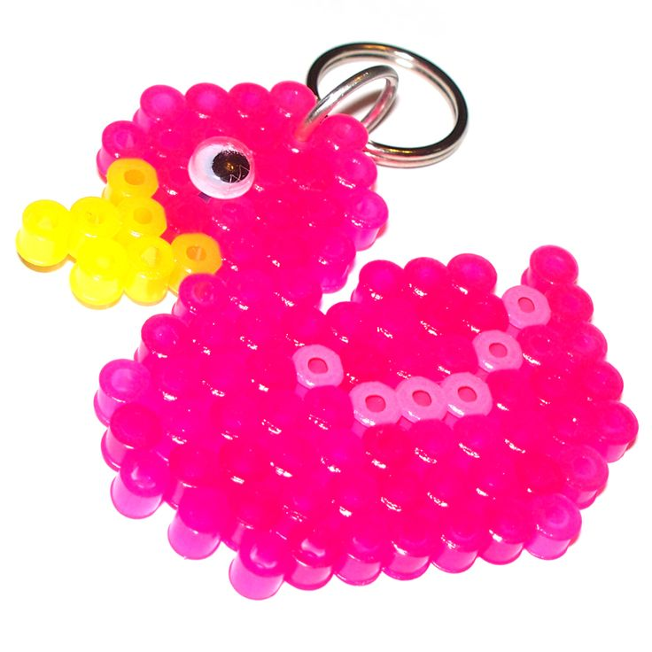 perler beads -awesome rubber ducky - Pink Duck (square board) perler beads