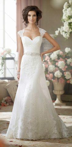 Cap sleeve lace wedding dress for older bride over 40, 50, 60.