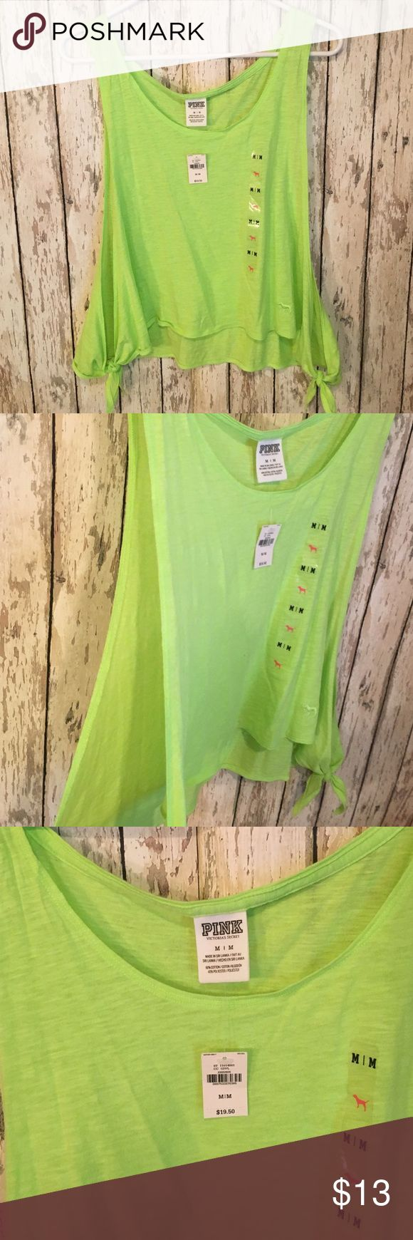 LIME GREEN VS OPEN SIDES TANK TOP Very cute summer shirt, Lime green, BRAND NEW WITH TAGS, SIZE M, VICTORIA SECRET BRAND, ties at bottom of slits on sides PINK Victoria's Secret Tops Tank Tops