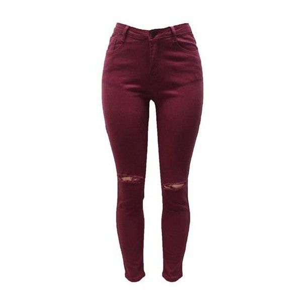Rotita High Waist Cutout Design Wine Red Skinny Pants ($27) ❤ liked on Polyvore featuring pants, wine red, high-waist trousers, zipper pants, red skinny pants, high rise pants and skinny trousers