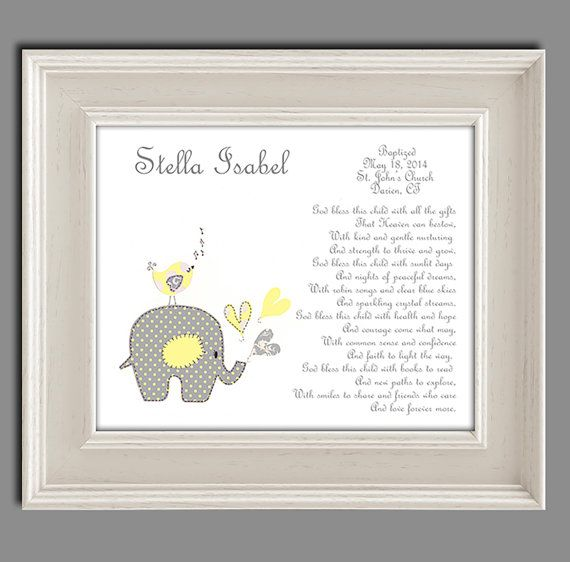 Baptism Gift from Godparents - Baby Girls Christening Gift - Baptism Gift for Goddaughter - Religious Gift - Elephant Nursery Art - PRINT