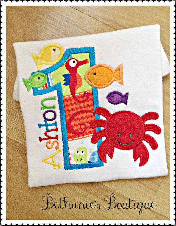 Under the Sea Birthday Applique Shirt- Crab and fish- Colorful Birthday shirt- Sea creatures