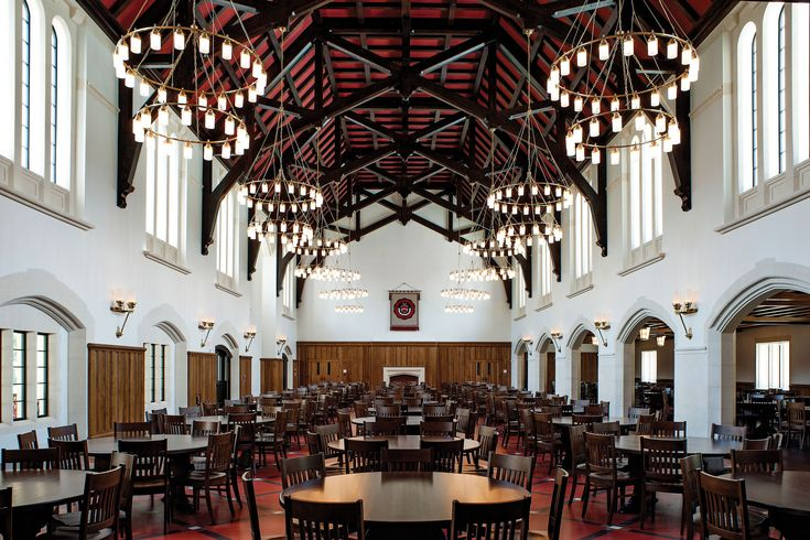 Dining hall interior of Flored Hall, St. John's School